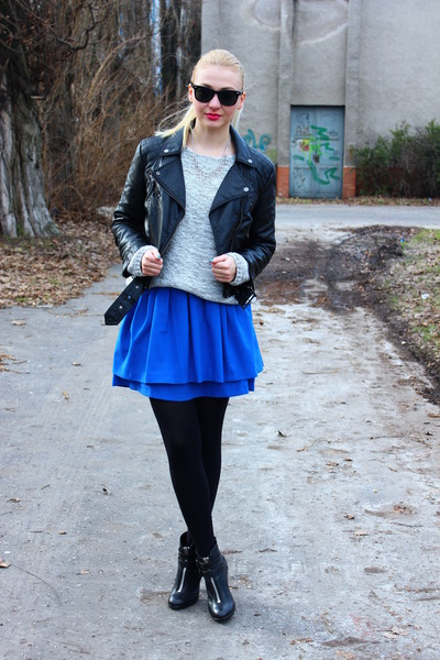 H&M skirt - Topshop boots - leather H&M jacket - vintage sweater