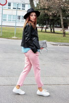 sneakers asos shoes - leather stylefruits jacket - trousers Zara pants