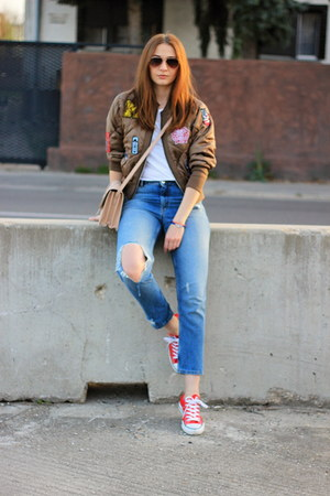 shein jacket - Converse shoes - H&M jeans - Mango bag