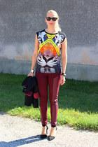 choiescom top - H&M leggings - next blazer - choiescom heels