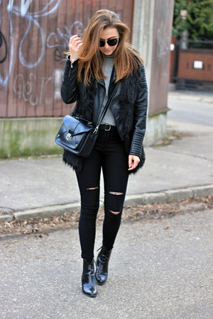 Zara shoes - ripped shein jeans - F&F sweater - New Yorker bag