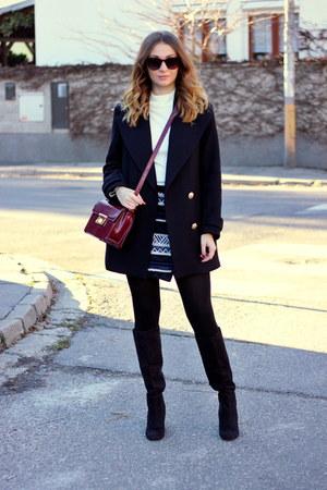 H&M boots - Zara coat - Primark sweater - F&F bag - Promod skirt