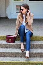 Mango jacket - Zara jeans - H&M shirt - F&F bag - asos heels