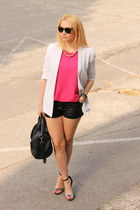 Mango blazer - leather asos shorts - Zara shorts - vintage top