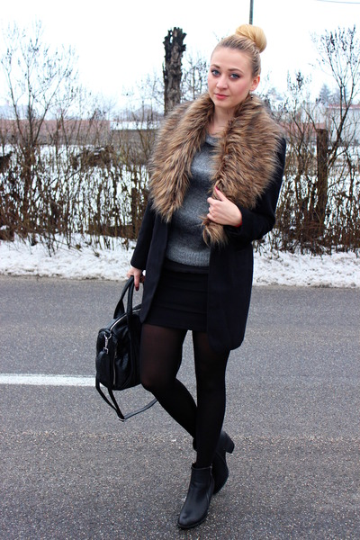 faux fur colar Ebay scarf - ankle boots Atmosphere shoes - New Yorker coat