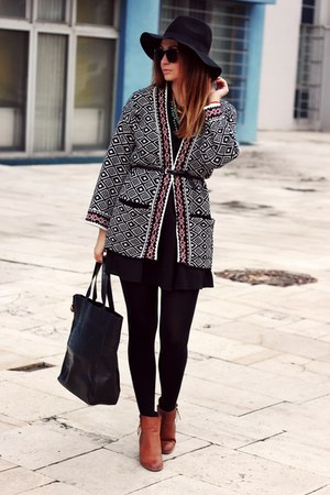 Sheinside cardigan - ankle boots Primark shoes - H&M hat - sammydress bag