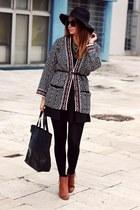 Sheinside cardigan - ankle boots Primark shoes - H&M hat - sammydress bag