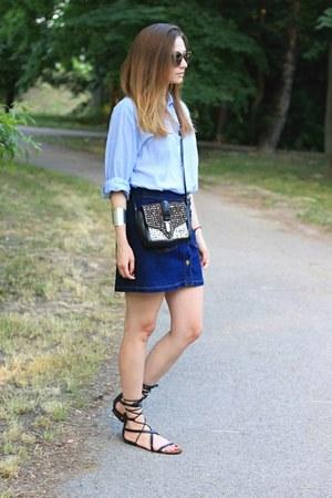 H&M shirt - Zara bag - Stradivarius skirt - Mango sandals