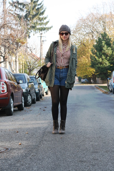 New Yorker jacket - Gate boots - asos bag - vintage shorts - vintage blouse