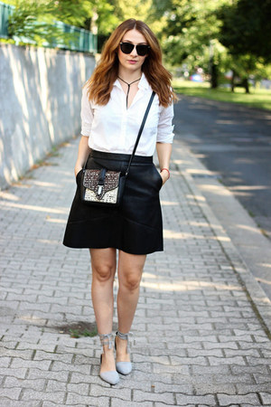 Zara bag - flat sammydress shoes - H&M shirt - Zara skirt