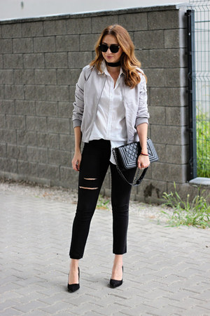 bomber shein jacket - H&M jeans - H&M shirt