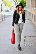 faux leather reserved jacket - Oasapcom hat - Sheinsidecom sweater - Mango bag