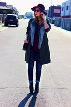 Zara boots - trench Gate coat - Zara jeans - H&M hat - lindex blouse