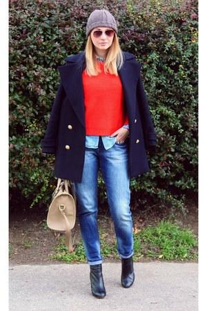 Zara boots - Zara coat - boyfriend H&M jeans - Zara sweater - Zara shirt