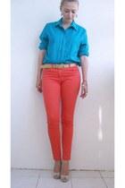 H&M jeans - vintage blouse - vintage belt - Primark heels