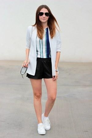 Mango blazer - OASAP shorts - romwe blouse - asos sneakers