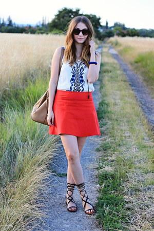 Zara skirt - Mango bag - Mango sandals - Sheinside top
