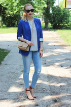 H&M blazer - Zara shoes - Zara jeans - asos purse - vintage top