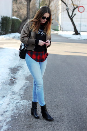 Sheinside jacket - ankle asos boots - Zara jeans - OASAP sweater - Primark shirt