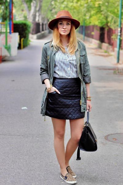 H&M hat - asos shoes - parka New Yorker jacket - H&M shirt - Sheinsidecom skirt