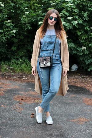 dungarees romwe jeans - Zara bag - asos cardigan