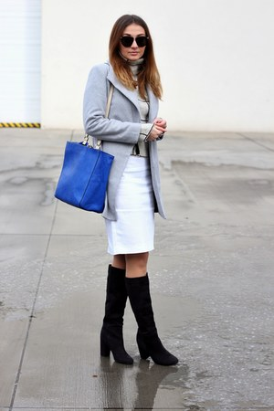 turtleneck OASAP sweater - boots H&M shoes - OASAP coat - Zara bag - Zara skirt