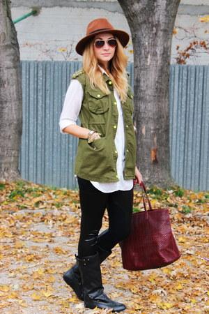 choiescom vest - H&M hat - faux leather OASAP leggings - H&M shirt