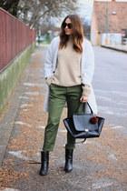 shein coat - asos boots - vintage sweater - Zara pants