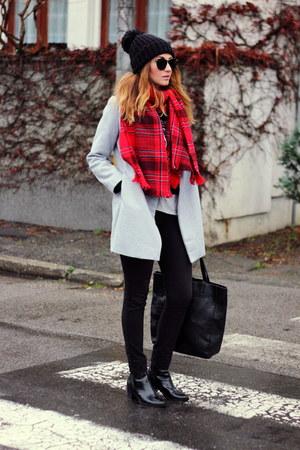 OASAP coat - ankle Zara boots - OASAP sweater - H&M scarf