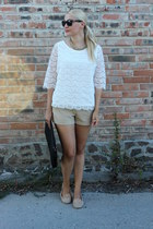 lace lindex top - oversized vintage purse - H&M shorts - studded asos loafers