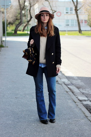 flare H&M jeans - ankle asos boots - Zara coat - OASAP hat