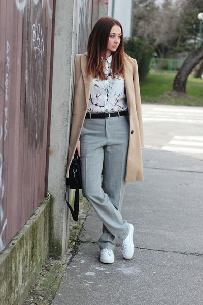 F&F coat - OASAP shirt - New Yorker bag - asos sneakers - vintage pants