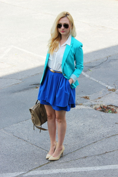 H&M skirt - Mango shoes - blazer - bag - H&M blouse