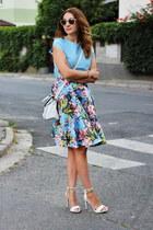 midi Sheinside skirt - Mango shoes - asos bag - OASAP top