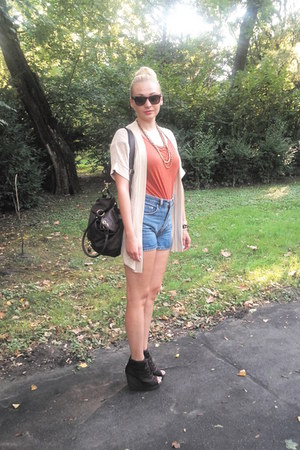 newlookcom wedges - asos bag - vintage shorts - Primark cardigan - H&amp;M top