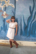 white Goodwill dress - brown vintage from Ebay boots - brown Goodwill belt