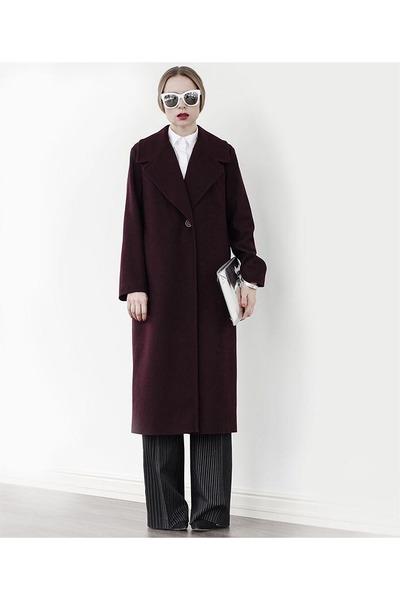 crimson coat - white glasses