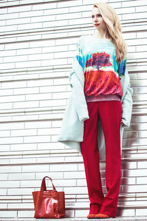 aquamarine Sheinside coat - ruby red Sheinside sweatshirt