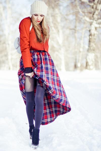 eggshell Bershka hat - ruby red by tini-tani jacket - navy Fiore tights
