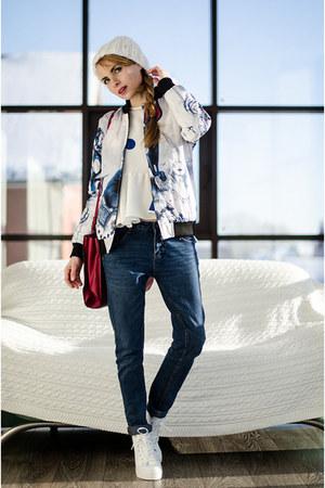 white Choies jacket - blue Choies top