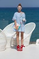 sky blue romwe dress - ruby red Raye flats