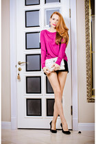white Aliya Suleymanova bag - hot pink nowistylejp blouse