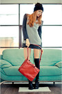 Black-zara-boots-black-romwe-dress-brick-red-zara-bag