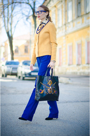 navy Aliya Suleymanova bag - gold Marika blazer