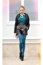 black Marika jacket - teal Zara sweater - black Marika shorts