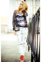 black TRASH blouse - white Zara jeans - black OASAP bag