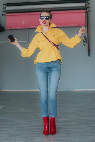 ruby red Raye boots - light blue Grlfrnd jeans