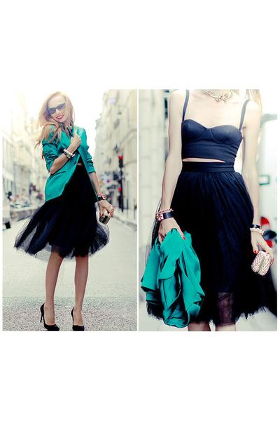 black summydress skirt - teal by tini-tani blazer - black Love Republic top