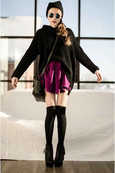 purple choiescom skirt - black OASAP boots - black Zealotriescom bag