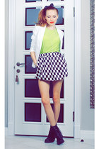 black Choies skirt - white HM blazer - chartreuse Marika top
